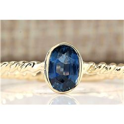 0.70 CTW Natural Sapphire And Diamond Ring In 18K Yellow Gold