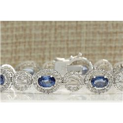 10.58 CTW Natural Sapphire And Diamond Bracelet In 18K Solid White Gold