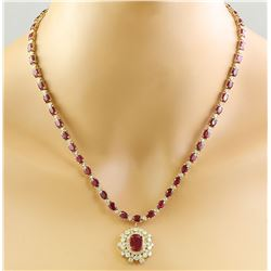 33.63 CTW Ruby 14K Yellow Gold Diamond Necklace