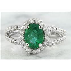 1.70 CTW Emerald 18K White Gold Diamond Ring