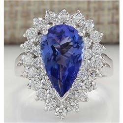 4.46 CTW Natural Tanzanite And Diamond Ring In 18K White Gold