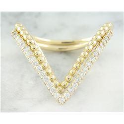 0.28 CTW Diamond 14K Yellow Gold Double V Ring