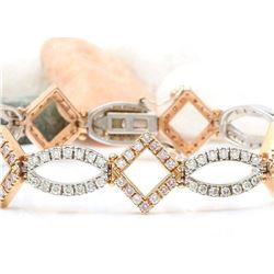 4.75 CTW Natural Diamond 14K Solid Two Tone Gold Bracelet