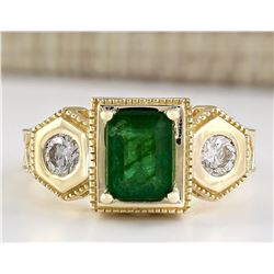 2.34 CTW Natural Emerald And Diamond Ring In 18K Yellow Gold
