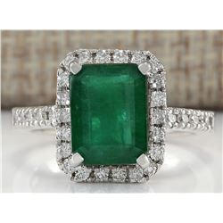 3.61 CTW Natural Emerald And Diamond Ring In 18K White Gold