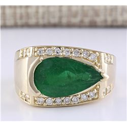 4.18 CTW Natural Emerald And Diamond Ring In 14k Yellow Gold