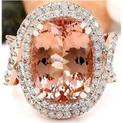 11.51 CTW Natural Morganite 18K Solid Rose Gold Diamond Ring