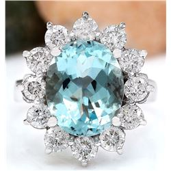 4.96 CTW Natural Aquamarine 18K Solid White Gold Diamond Ring