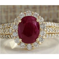 3.73 CTW Natural Red Ruby And Diamond Ring 18K Solid Yellow Gold