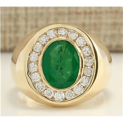 4.50 CTW Natural Emerald And Diamond Ring In 18K Yellow Gold