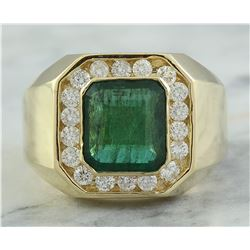 4.26 CTW Mens Emerald 18K Yellow Gold Diamond Ring