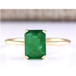 1.40 CTW Natural Emerald Ring In 18K Yellow Gold