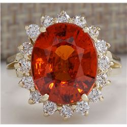 6.96CTW Natural Mandarin Garnet And Diamond Ring In14K Yellow Gold