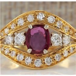 1.15 CTW Natural Ruby And Diamond Ring 14K Solid Yellow Gold