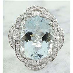 6.97 CTW Aquamarine 18K white Gold Diamond Ring