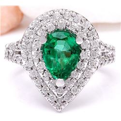 4.83 CTW Natural Emerald 18K Solid White Gold Diamond Ring