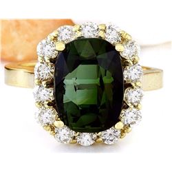 9.00 CTW Natural Tourmaline 18K Solid Yellow Gold Diamond Ring