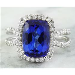 5.75 CTW Tanzanite 18K White Gold Diamond Ring