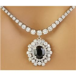 8.60 CTW Sapphire 14K White Gold Diamond Necklace