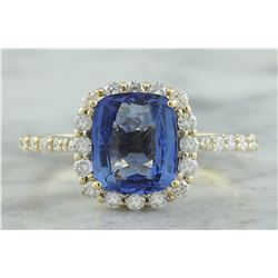 3.03 CTW Sapphire 18K Yellow Gold Diamond Ring