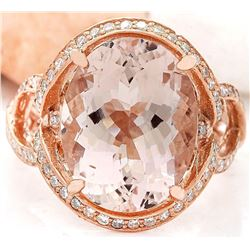 8.19 CTW Natural Morganite 18K Solid Rose Gold Diamond Ring