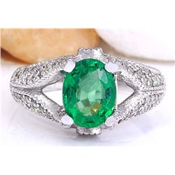 2.34 CTW Natural Emerald 18K Solid White Gold Diamond Ring