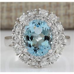 4.40 CTW Natural Aquamarine And Diamond Ring In 18K Solid White Gold