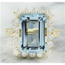 8.75 CTW Aquamarine 14K Yellow Gold Diamond Ring