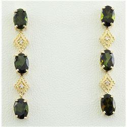 2.65 CTW Tourmaline 14K Yellow Gold Diamond Earrings