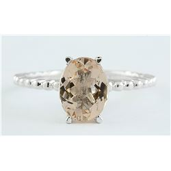 1.50 CTW Morganite 18K White Gold Ring