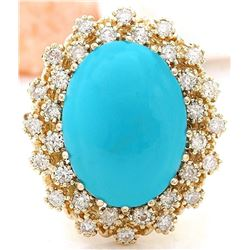 9.60 CTW Natural Turquoise 18K Solid Yellow Gold Diamond Ring