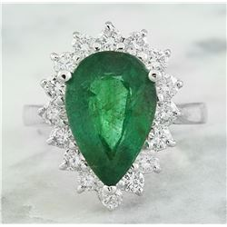 5.46 CTW Emerald 18K White Gold Diamond Ring