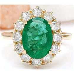 4.40 CTW Natural Emerald 14K Solid Yellow Gold Diamond Ring
