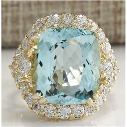 13.13CTW Natural Aquamarine And Diamond Ring In14K Solid Yello Gold