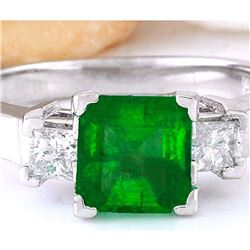 1.90 CTW Natural Emerald 18K Solid White Gold Diamond Ring