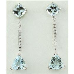 14.20 CTW Aquamarine 18K White Gold Diamond Earrings