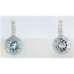 5.10 CTW Aquamarine 14K White Gold Diamond Earrings