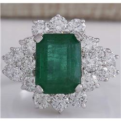 4.58 CTW Natural Emerald And Diamond Ring 18K Solid White Gold
