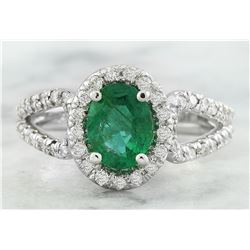 1.70 CTW Emerald 14K White Gold Diamond Ring