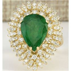 7.82 CTW Natural Emerald And Diamond Ring In 18K Yellow Gold