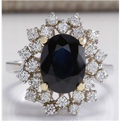 4.83 CTW Natural Blue Sapphire Diamond Ring 18K Solid White Gold