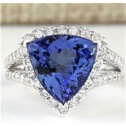7.07 CTW Natural Blue Tanzanite And Diamond Ring 18K Solid White Gold