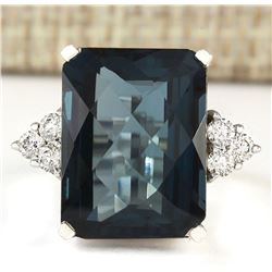 14.60 CTW Natural London Blue Topaz And Diamond Ring In18K Solid White Gold