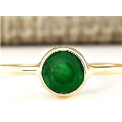 0.85 CTW Natural Emerald Ring In 14k Yellow Gold