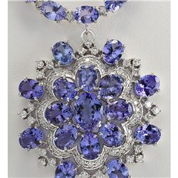 68.84 CTW Natural Tanzanite And Diamond Necklace In 14k White Gold