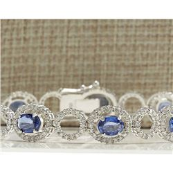 12.42 CTW Natural Sapphire And Diamond Bracelet In 18K Solid White Gold