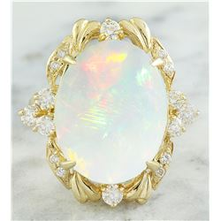 8.87 CTW Opal 18K yellow Gold Diamond Ring