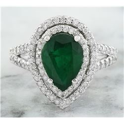 2.90 CTW Emerald 18K White Gold Diamond Ring