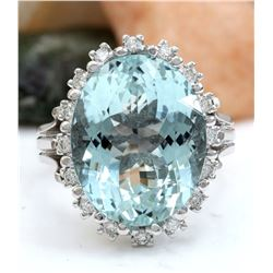 12.78 CTW Natural Aquamarine 18K Solid White Gold Diamond Ring