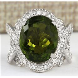 12.80 CTW Natural Green Tourmaline And Diamond Ring 18K Solid White Gold